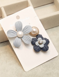 Fashion Blue Flower Shape Decorated Brooch (3pcs)