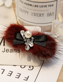 Fashion Claret-red Waterdrop Shape Diamond Decorated Hair Clip