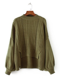 Fashion Olive Pure Color Decorated Lantern Sleeve Sweater