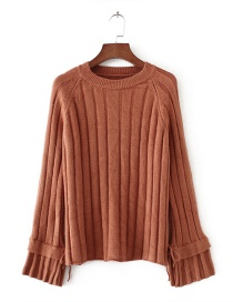 Fashion Coffee Pure Color Decorated Flare Sleeve Sweater
