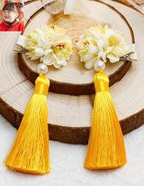 Lovely Yellow Flower&tassel Decorated Hairpin(2pcs)