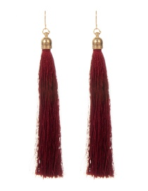 Fashion Claret Red Long Tassel Decorated Pure Color Earrings