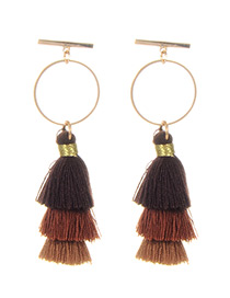 Fashion Brown Circular Ring Decorated Tassel Earrings