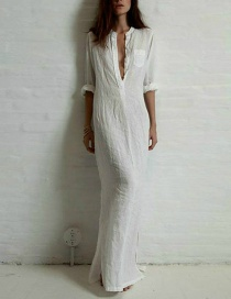 Sexy White Pure Color Decorated Long Dress
