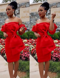 Sweet Red Bowknot Design Pure Color Off-the-shoulder Dress