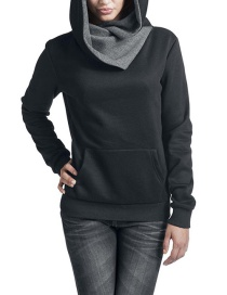 Fashion Black Pure Color Decorated Thicken Hoodie
