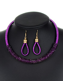 Trendy Purple Circular Ring Decorated Pure Color Jewelry Sets