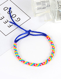 Trendy Sapphire Blue Color Matching Decorated Hand-woven Bracelet