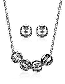 Fashion Silver Color Pure Color Decorated Hollow Out Jewelry Sets