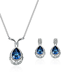 Fashion Blue Water Drop Shape Design Jewelry Sets