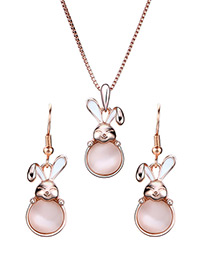 Fashion Rose Gold Rabbit Pendant Decorated Jewelry Sets