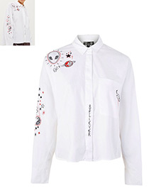 Fashion White Graffiti Pattern Decorated Long Sleeves Shirt