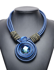 Exaggerated Blue Diamond Decorated Hand-woven Necklace