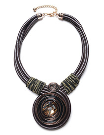 Exaggerated Brown Diamond Decorated Hand-woven Necklace