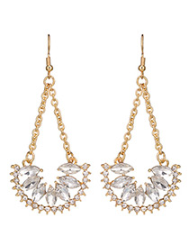 Exaggerated Gold Color Sector Shape Decorated Long Earrings