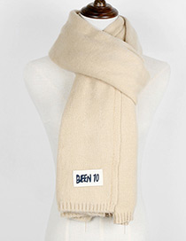 Trendy Beige Letter Pattern Decorated Knitting Thicken Scarf