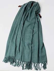 Trendy Green Pure Color Decorated Tassel Design Scarf