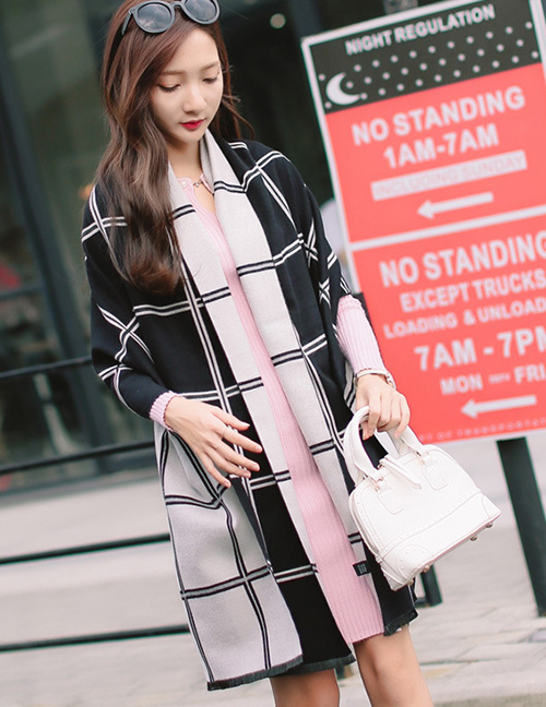 Fashion White+black Grid Pattern Decorated Dual Use Scarf