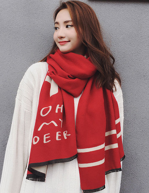 Fashion Red Deer Pattern Decorated Thicken Dual Use Scarf
