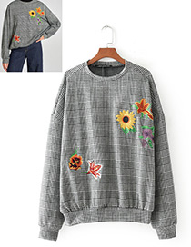 Fashion Gray Sunflower Pattern Decorated Long Sleevs Blouse