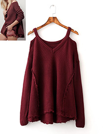 Fashion Claret Red V Ncekline Design Pure Color Sweater