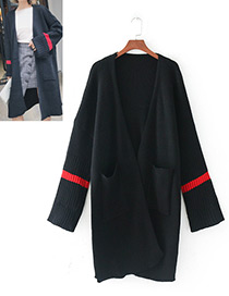 Fashion Black Stripe Pattern Decorated Long Coat