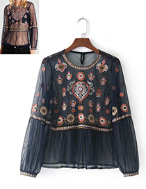 Fashion Navy Embroidery Flower Decorated Blouse