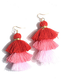 Bohemia Red Color-maching Decorated Multilayer Tassel Earrings