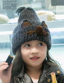 Lovely Black Cartoon Pattern Design Child Knitted Cap(2-7 Years Old )
