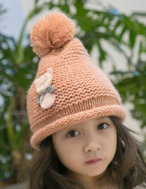 Lovely Orange Bear Decorated Child Plus Cashmere Cap(1-6 Years Old )