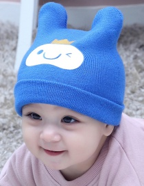 Lovely Dark Blue Smiling Face Pattern Decorated Child Thin Cap(0-2 Years Old )