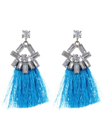 Fashion Blue Geometric Shape Diamond Decorated Tassel Earrings