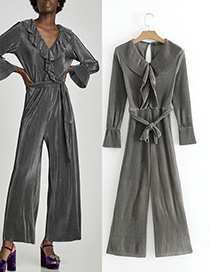 Fashion Dark Gray Pure Color Decorated Simple Jumpsuit