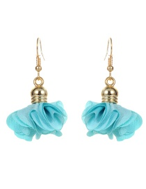 Fashion Light Blue Flower Pendant Decorated Earrings