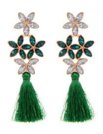 Elegant Green Flower Shape Decorated Earrings