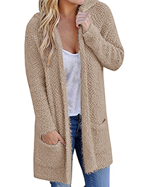 Fashion Beige Pure Color Decorated Knitting Cardigan