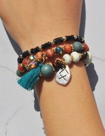 Bohemia Green Tassel Decorated Multilayer Bracelet