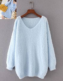 Vintage Light Blue Pure Color Decorated Sweater