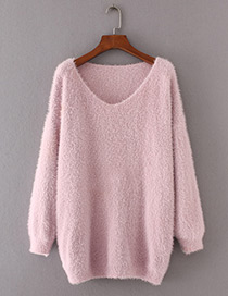 Vintage Pink Pure Color Decorated Sweater