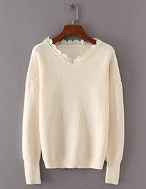 Fashion Beige Lace Shape Decorated Sweater