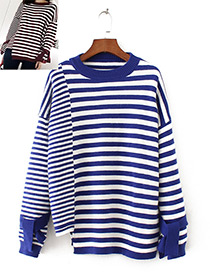 Fashion Blue Color-matching Decorated Sweater