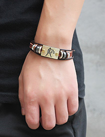 Personality Brown Libra Decorated Multilayer Bracelet