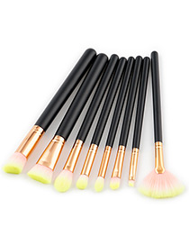 Fashion Yellow Color-matching Decorated Brushes (8pcs)