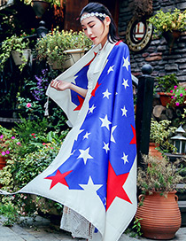 Bohemia Blue Star Shape Decorated Scarf