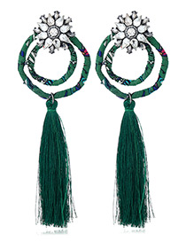 Bohemia Green Double Round Shape Decorated Tassel Earrings