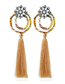 Bohemia Coffee Double Round Shape Decorated Tassel Earrings