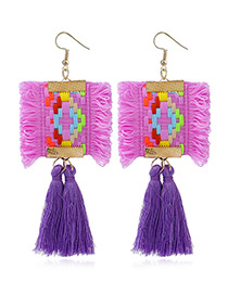 Retro Purple Color-matching Decorated Tassel Earrings