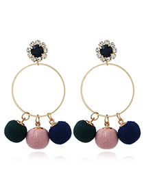 Fashion Multi-color Round Shape Decorated Pom Earrings