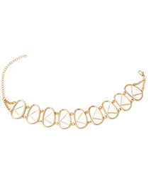 Fashion Gold Color Hollow Out Decorated Choker