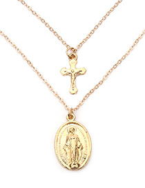 Fashion Gold Color Cross Shape Decorated Double-layer Necklace